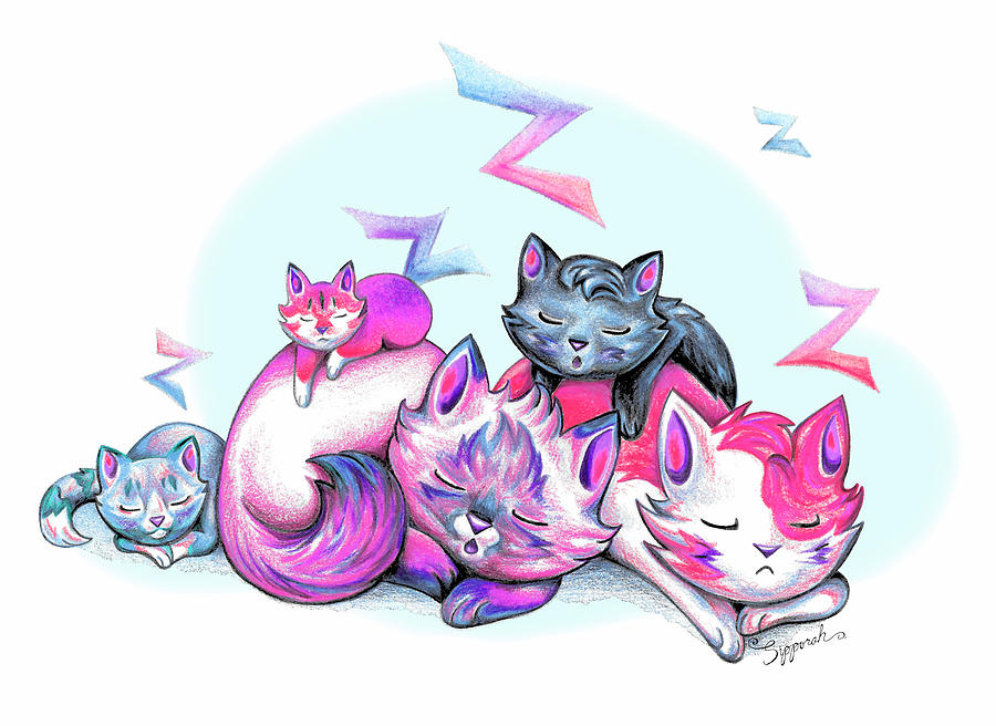 Snoozing Cartoon Kitties II by Sipporah Art and Illustration
