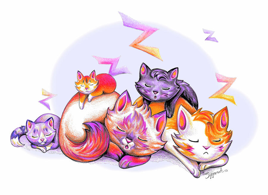 Snoozing Cartoon Kitties by Sipporah Art and Illustration
