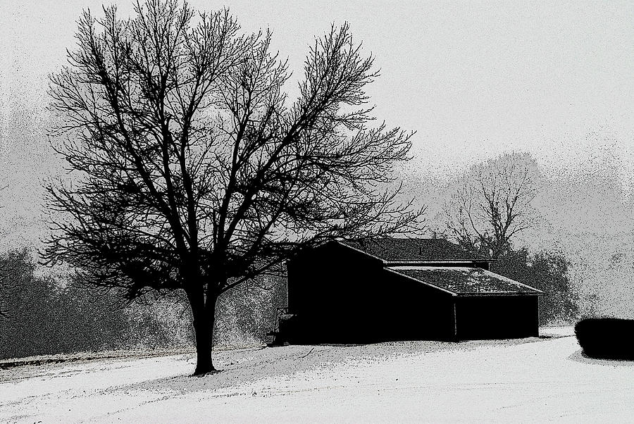 Snow and farmer's barn by Don Wolf