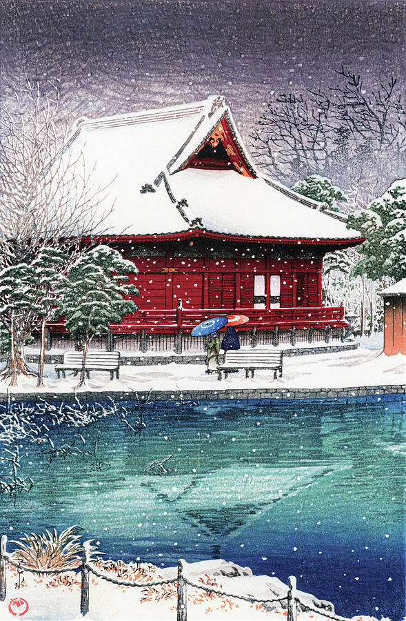 Ukiyoe Painting - Snow At Benten Shrine, Shinobazu - Digital Remastered Edition by Kawase Hasui