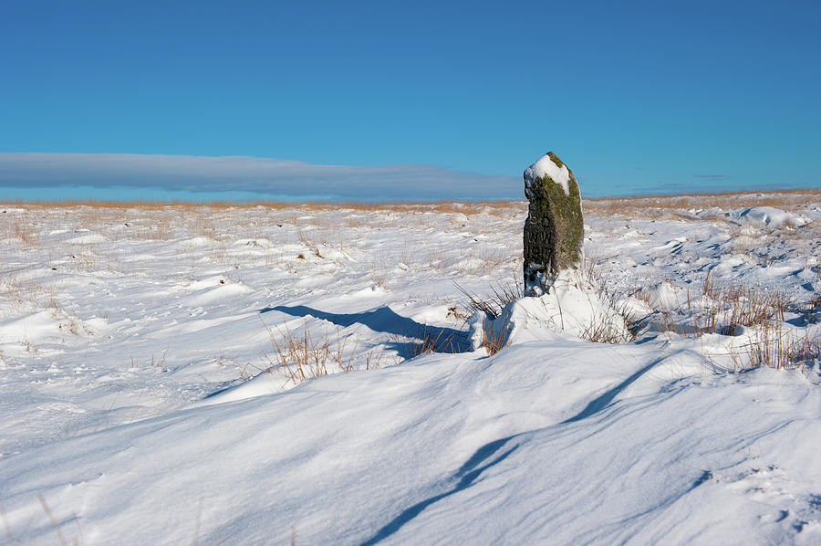 Snow Capped Marker Post by Helen Northcott