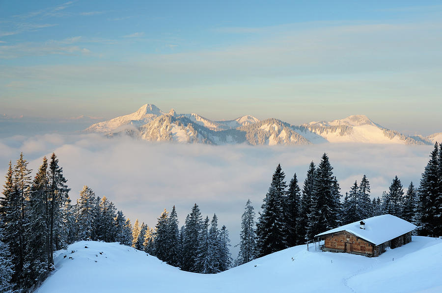 Scenic Photograph - Snow-covered Alpine Hut With by Andreas Strauss / Look-foto