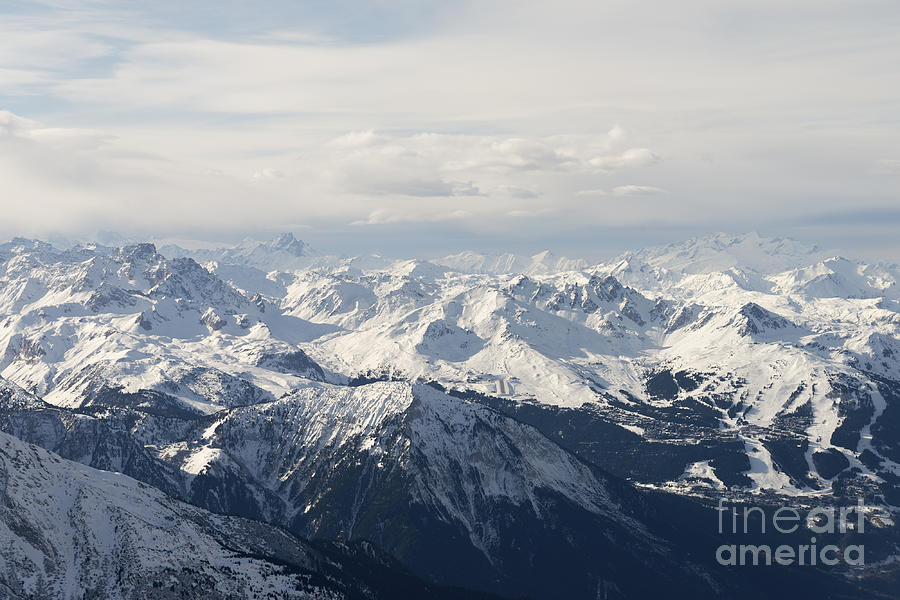 Mountains Photograph - Snow Covered Alps Mountains Aerial View by Ivan Aleshin