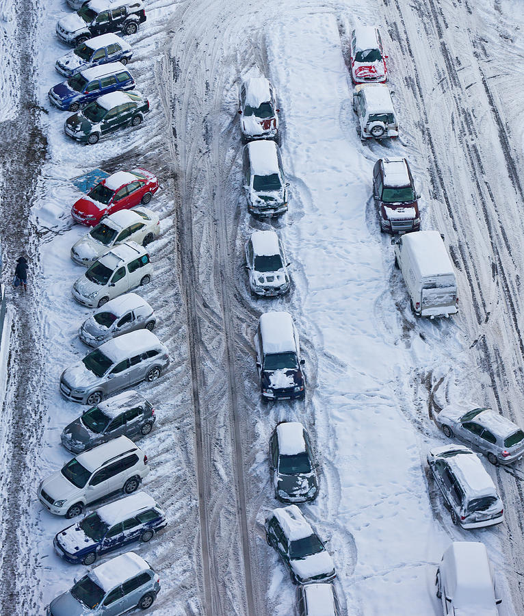 Snow Covered Cars In Parking Lot Photograph by Arctic-images