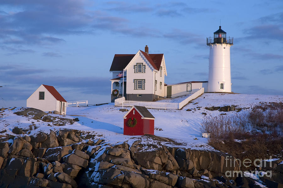 Cozy Photograph - Snow Covered Lighthouse During Holiday by Allan Wood Photography