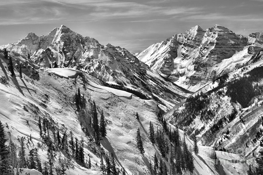 Snow Covered Maroon Bells Peaks Black And White