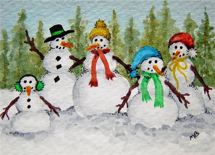 Snowmen Painting - Snow Family by Michele Bolling