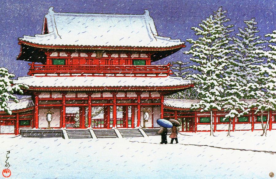 Ukiyoe Painting - Snow In The Heianjingu Shrine - Digital Remastered Edition by Kawase Hasui