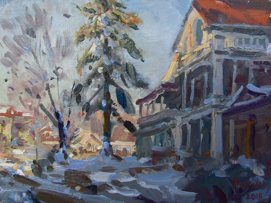 Snow Painting - Snow In Town by Ylli Haruni
