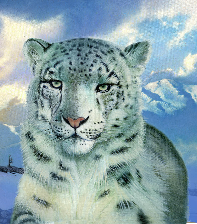 Snow Leopard Painting - Snow Leopard by John Rowe