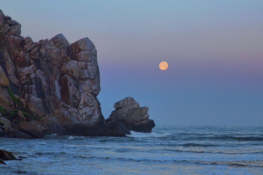 Snow Moon and Morro Rock by Cheryl Strahl