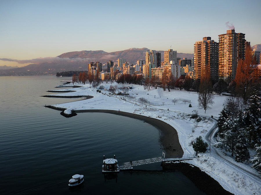 Snow On English Bay, Vancouver Photograph by Kim Rogerson