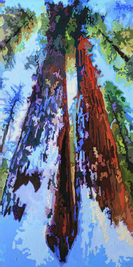 Redwoods Painting - Snow On The Redwoods by John Lautermilch