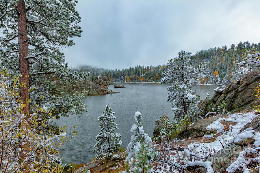 Snow Returns To Sylvan Lake by Michael Greiner