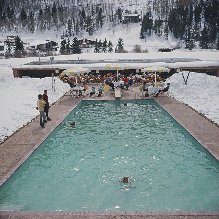 Snow Round The Pool Photograph by Slim Aarons