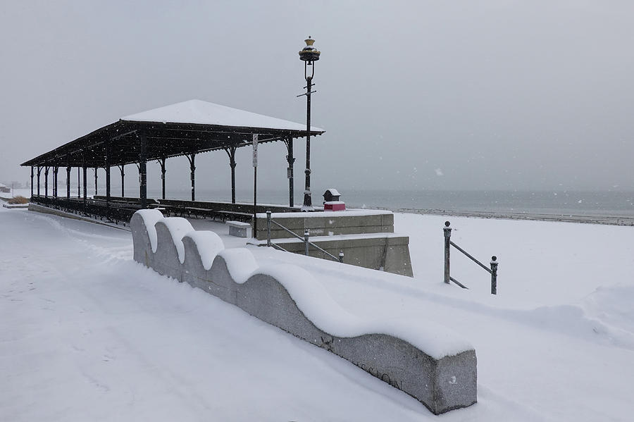 Snow Storm on Revere Beach Revere MA Winter by Toby McGuire