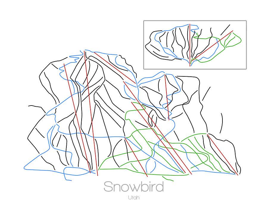Snowbird Utah Ut Ski Snowboard Resort Trial Map Digital Art By Drew