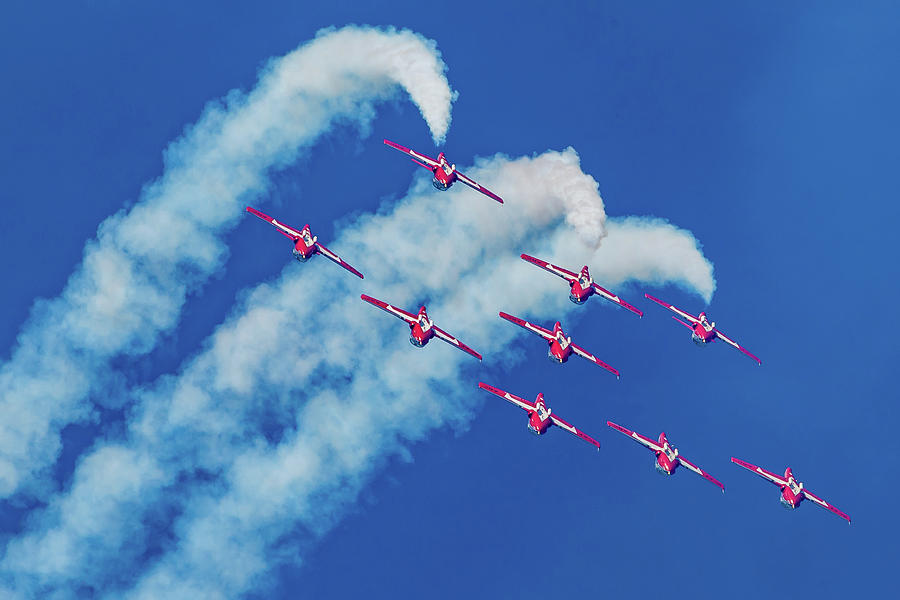Snowbirds Flying Upside Down by Donna Corless