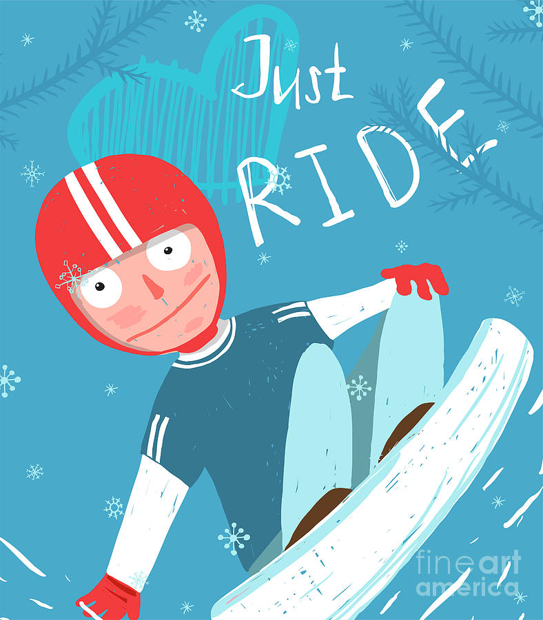 Freestyle Digital Art - Snowboard Funny Free Rider In Helmet by Popmarleo