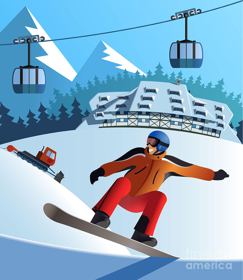Illustrations Digital Art - Snowboard Winter Resort by Nikola Knezevic