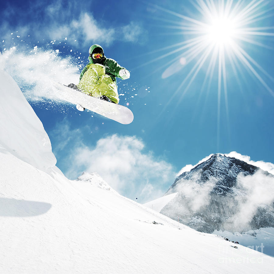 Slide Photograph - Snowboarder At Jump Inhigh Mountains At by Im photo