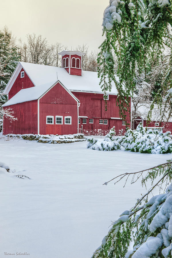 Snowbound Kent Barn by T-S Photo Art