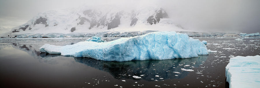 Scenic Photograph - Snowcapped Mountains And Iceberg by Harald Sund