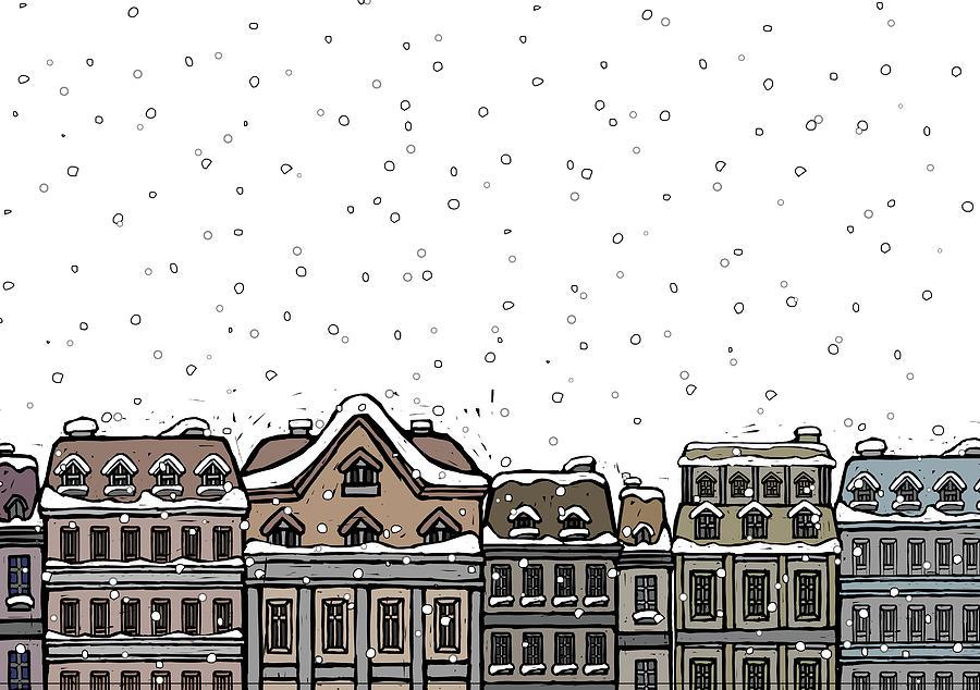 Snowfall Over A City Digital Art by Eastnine Inc.