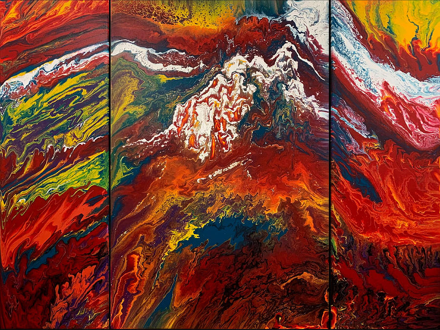 Snowfire Peaks Triptych  by Lon Chaffin
