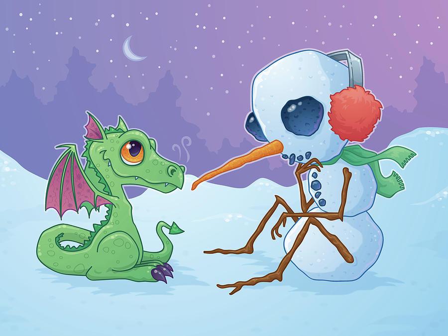 Snowman And Dragon Digital Art