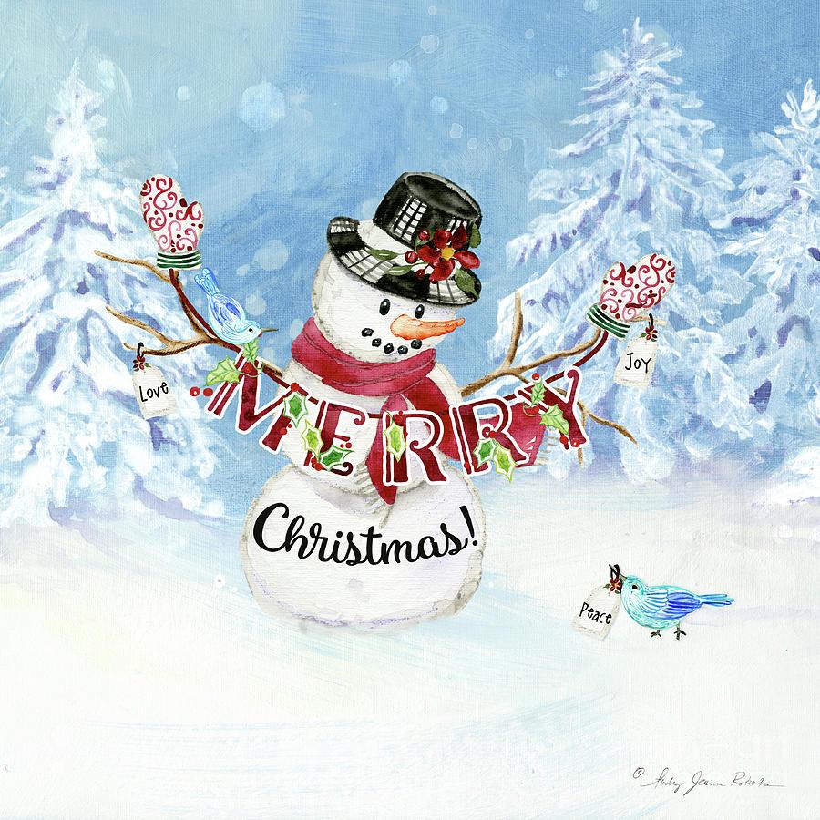 Snowman Christmas Love Joy Peace by Audrey Jeanne Roberts
