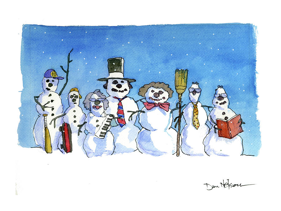 Snowman Family Greetings Drawing