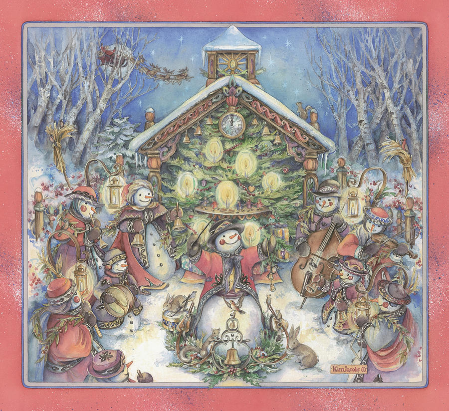 Xmas Painting - Snowpeoples Orchestra by Kim Jacobs