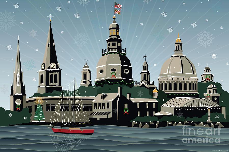 Annapolis Digital Art - Snowy Annapolis Holiday by Joe Barsin
