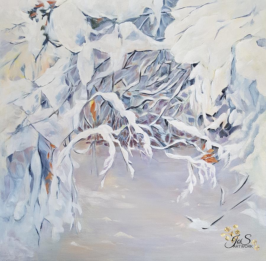 Snowy Branches in Neutrals by Joanne Smoley