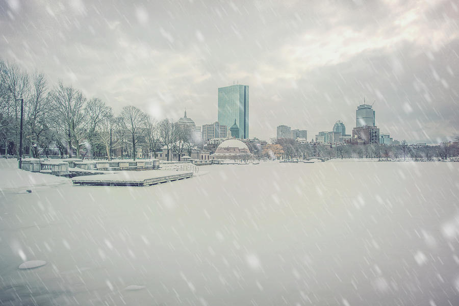 Snowy Day on the Charles River - Boston by Joann Vitali