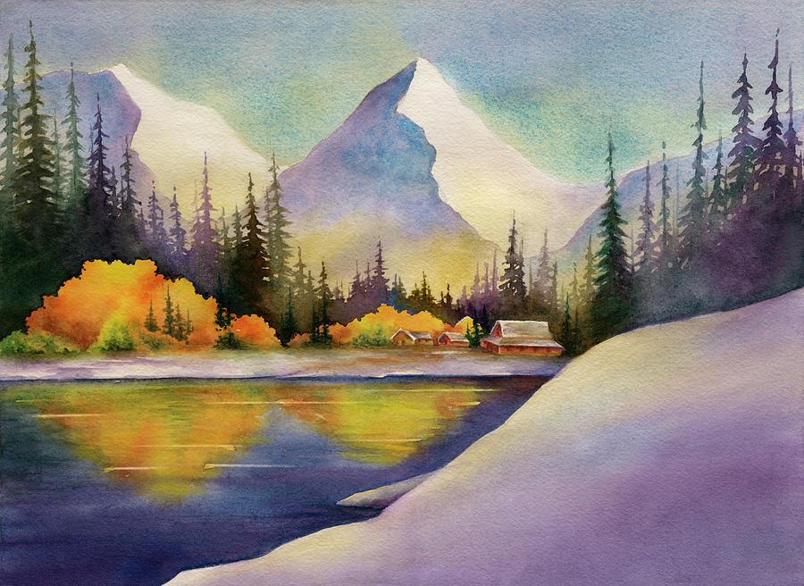 Snowy Mountain Lake Digital Art by Ileximage