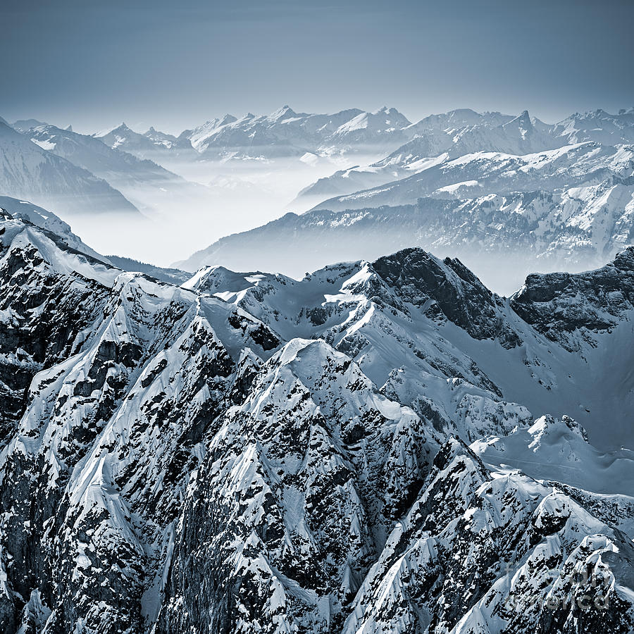 Alps Photograph - Snowy Mountains In The Swiss Alps. View by Antonio Jorge Nunes
