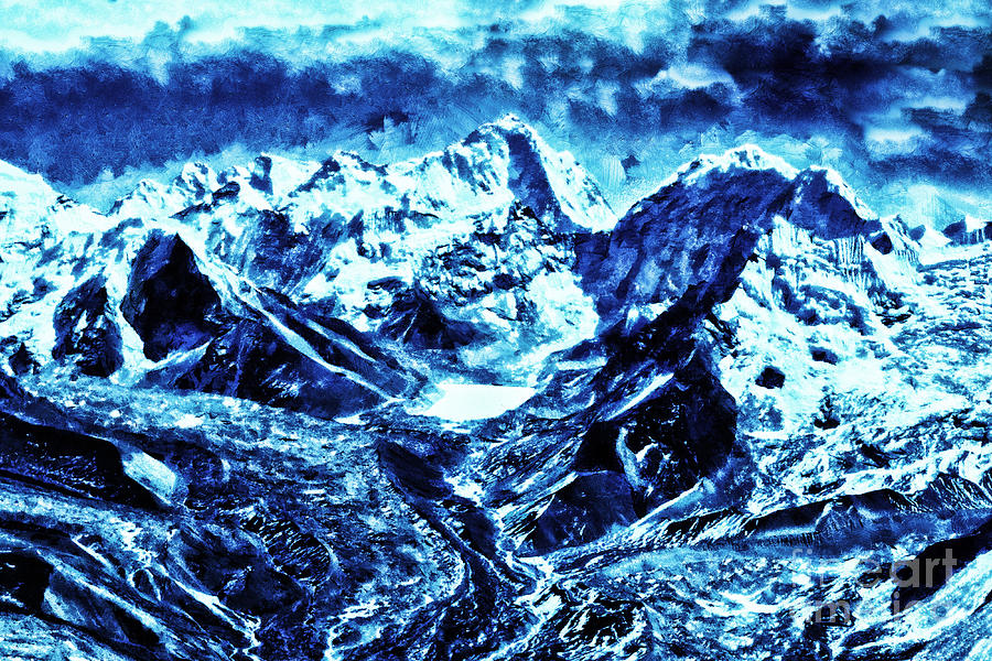Snowy mountains on moonlit night by Odon Czintos