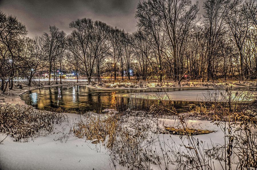 Snowy Night on the Clinton River  V2 DSC_0098 by Michael Thomas