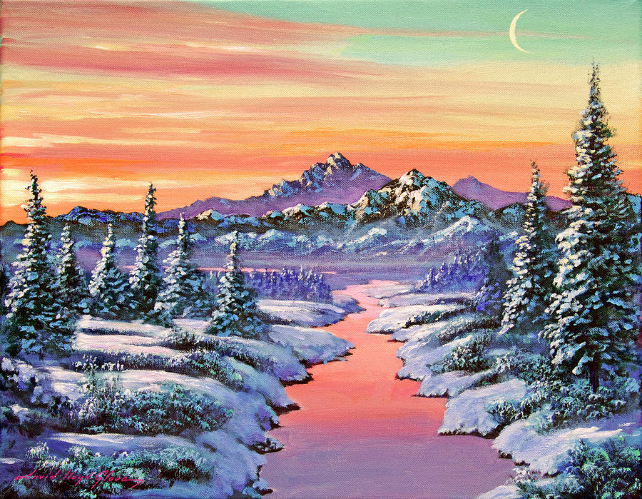 Landscape Painting - Snowy Winter River by David Lloyd Glover