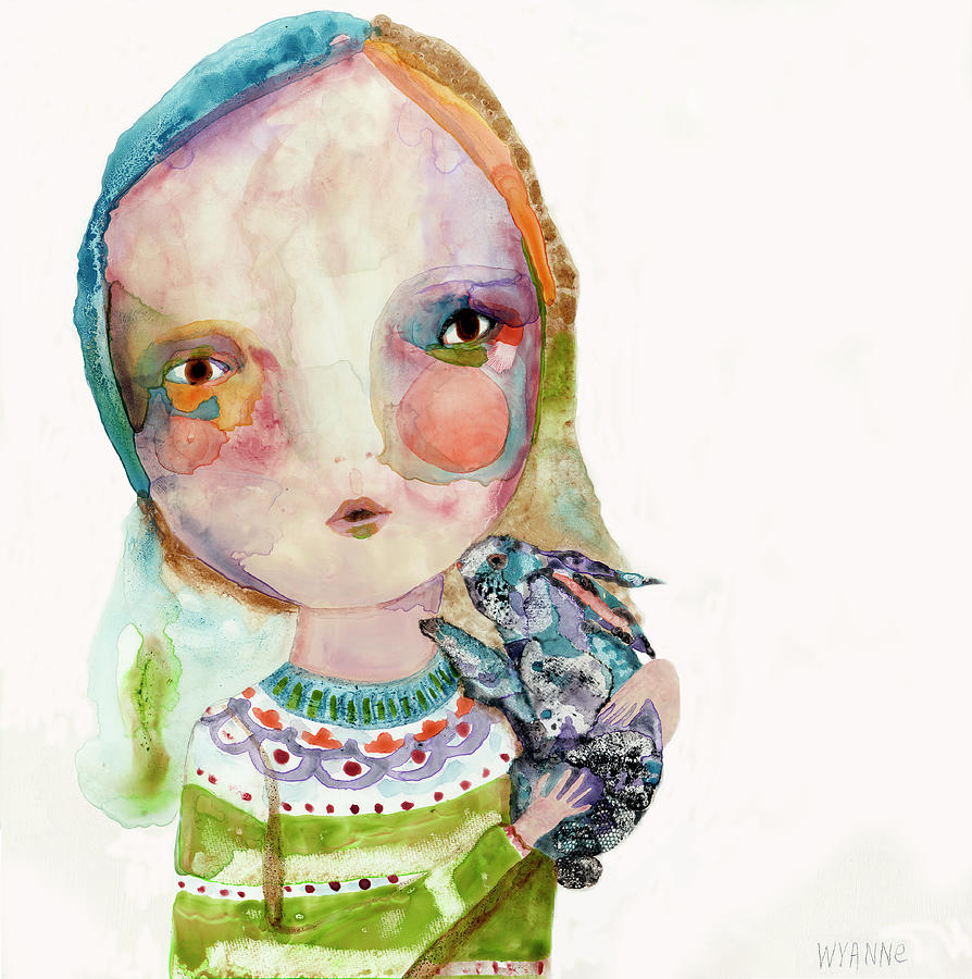 Women Painting - Snuggle Spot by Wyanne