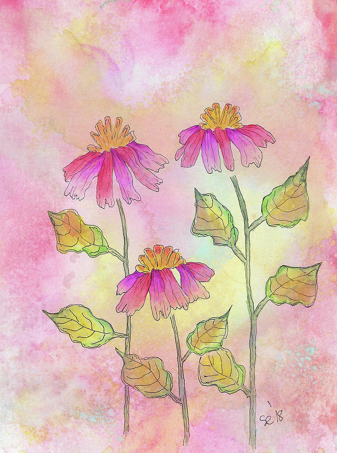 Watercolor And Ink Painting - So Pretty In Pink by Susan Campbell