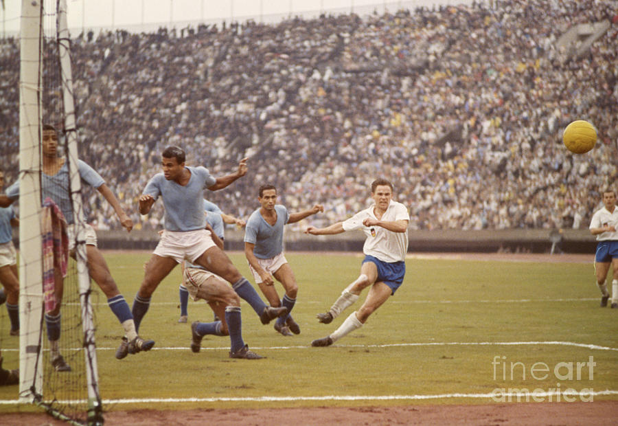 Soccer Game Action At The Olympic Photograph by Bettmann