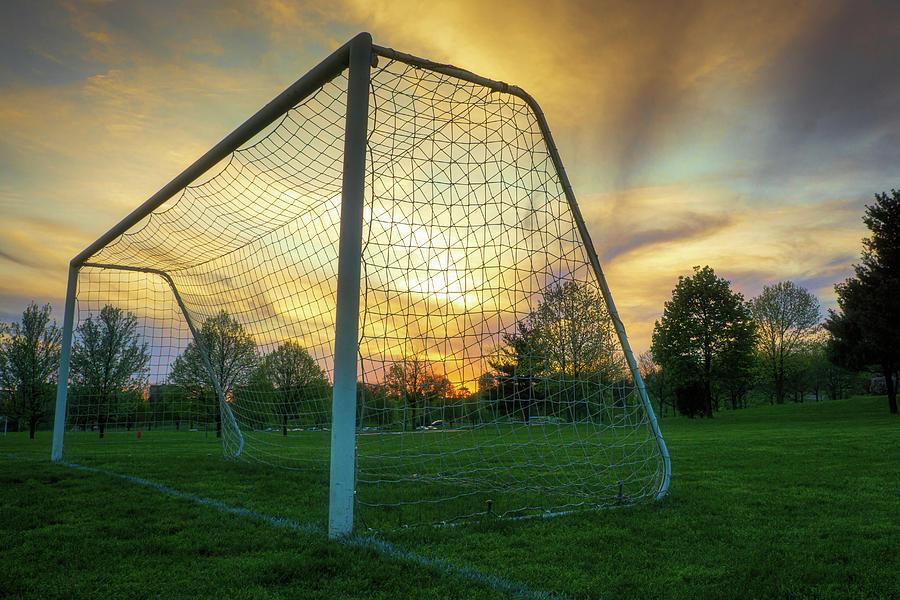 Soccer Goal Sunset by Jason Fink