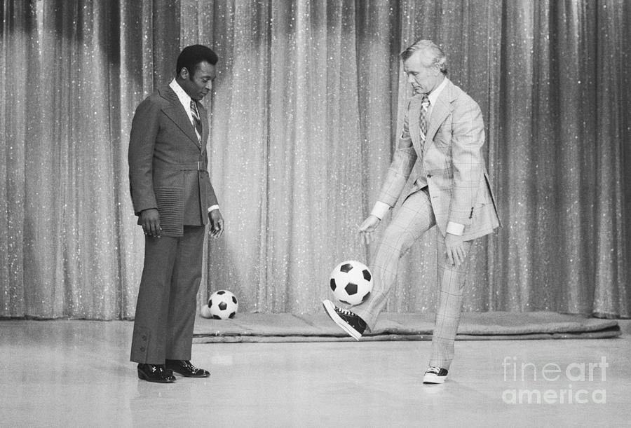 Soccer Player Pele On Johnny Carsons Photograph by Bettmann