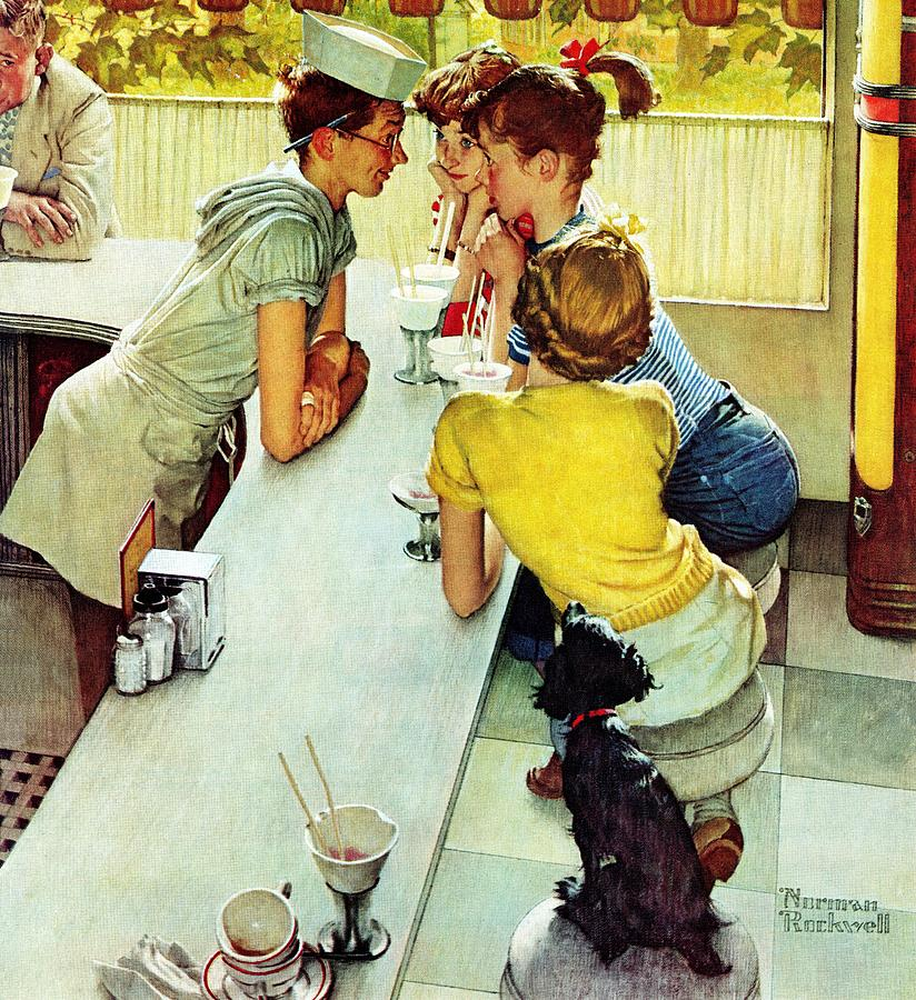 Counters Drawing - Soda Jerk by Norman Rockwell