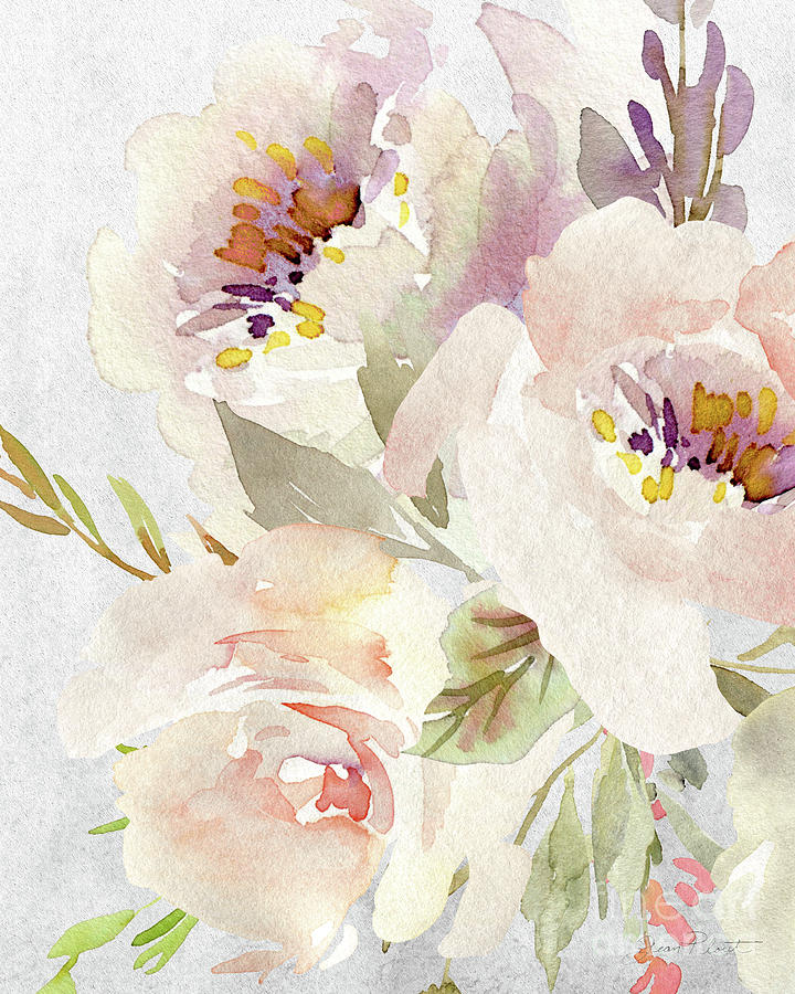 Watercolor Painting - Soft Blossoms B by Jean Plout