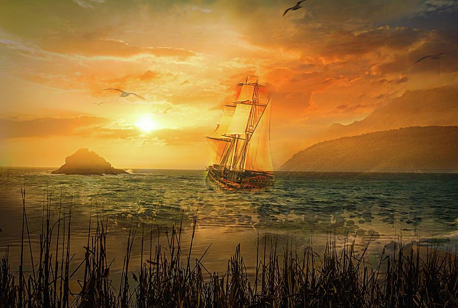 Sunset Digital Art - Soft Sunset by Jasmina Seidl