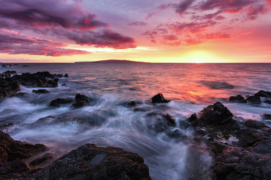 Soft Water Over Lava Rocks With A Red by Jenna Szerlag